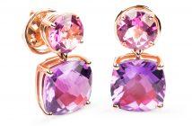 RABAT. Pendientes de oro rosa topacio rosa y amatista - 1.350€